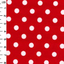 100% Cotton Bright Red Medium Polka Dot Print Fabric x 0.5m